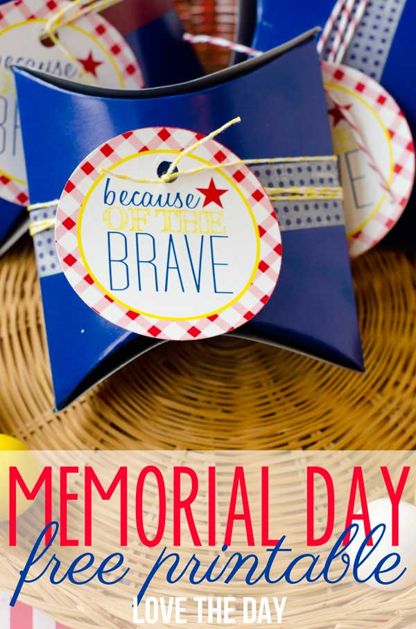 Free Memorials Day Tags honoring the brave who have served out country!