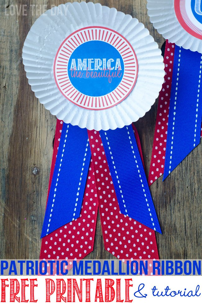 4th Of July Medallion Ribbon Tutorial and Free Printable by Love The Day