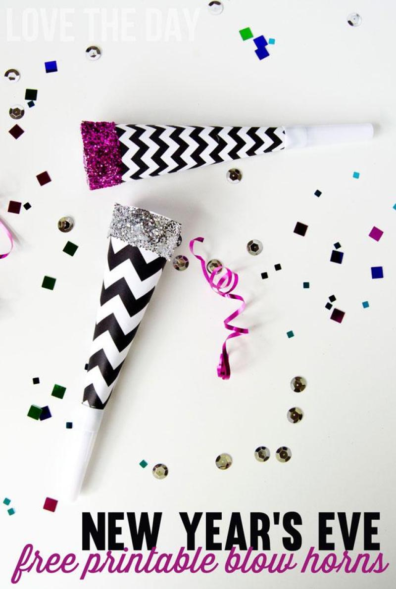 New Year's Eve FREE Printable Blow Horn & Tutorial by Love The Day