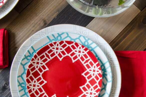 Non Traditional Valentines Tablescape: Mixing Patterns, Colors and Texture
