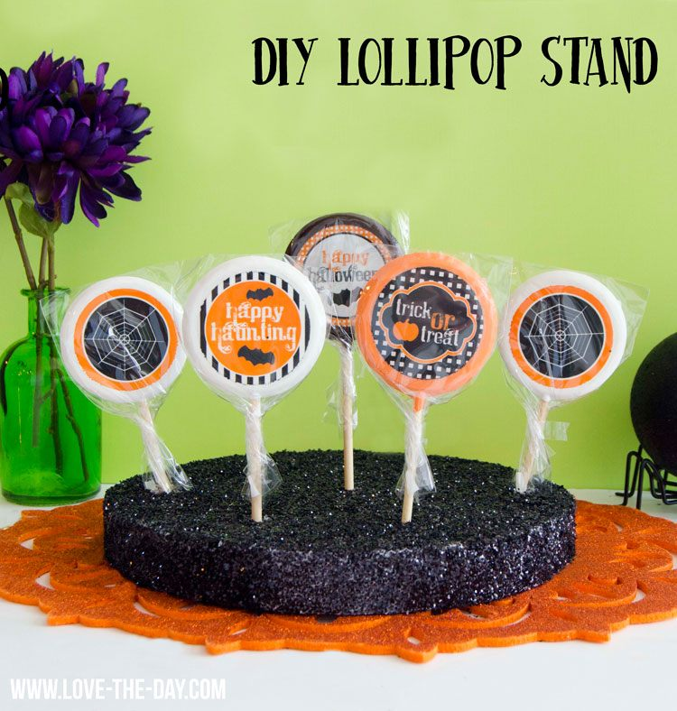 DIY Glittered Lollipop Stand by Love The Day