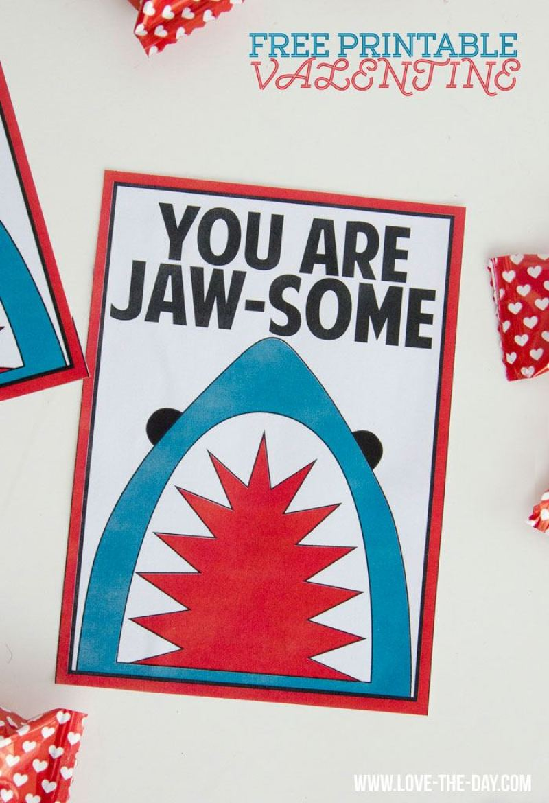 Shark-Themed Free Valentine PRINTABLES by Love The Day