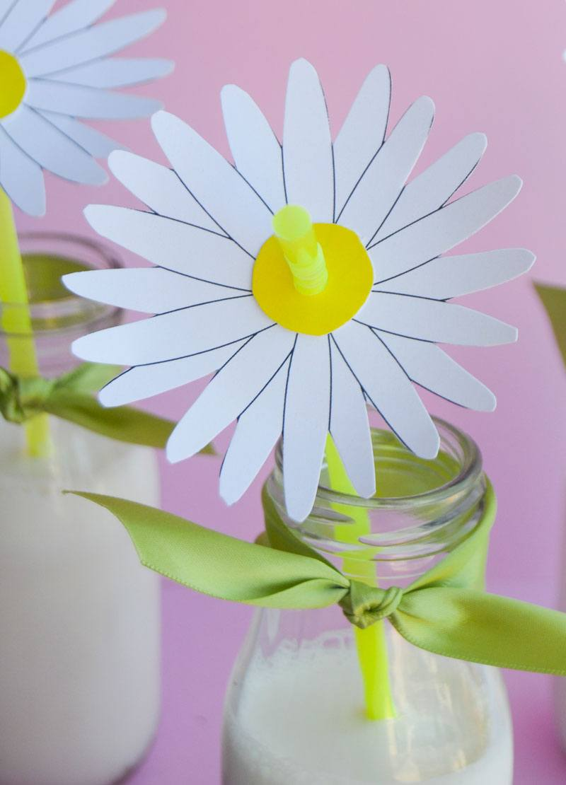 Free Printable Flower & DIY Daisy Straw Tutorial by Love The Day