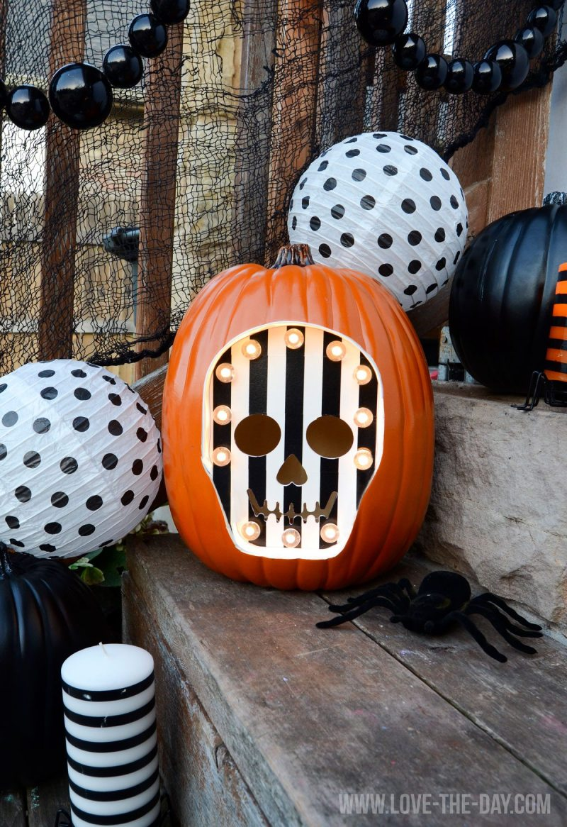 SKELETON MARQUEE PUMPKIN TUTORIAL FOR MICHAELS by Lindi Haws of Love The Day