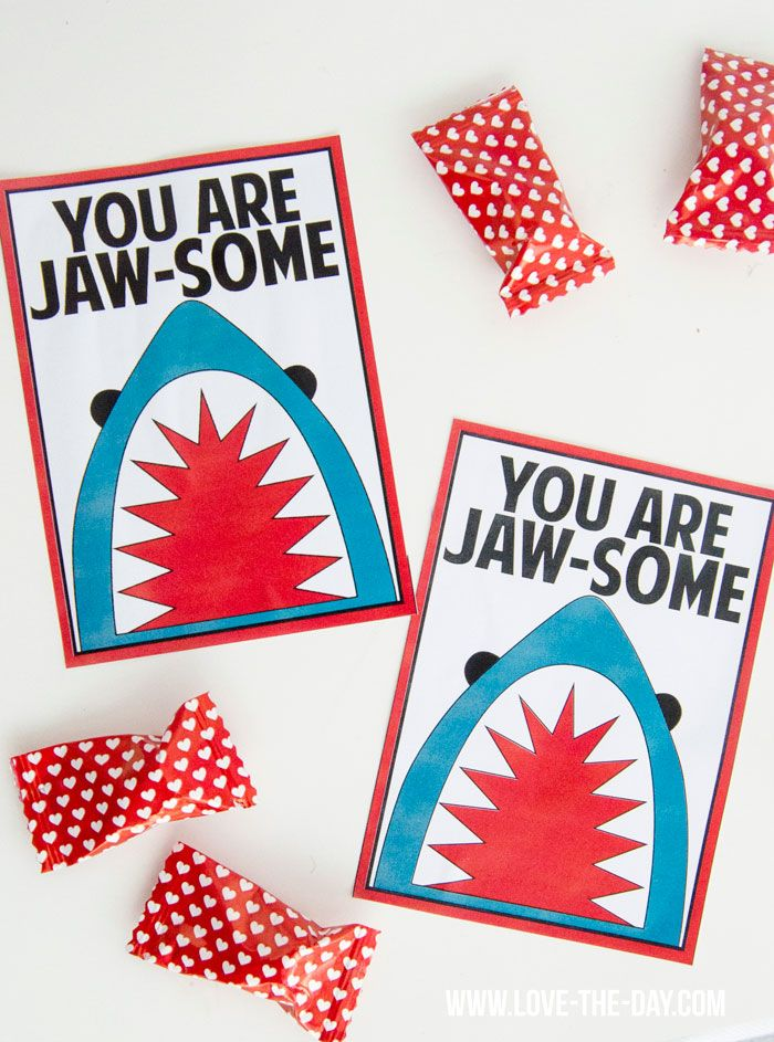 Free Shark Valentine Printable by Lindi Haws of Love The Day