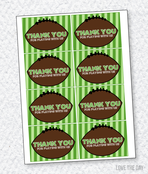 Football Party PRINTABLES:: Favor Tags by Lindi Haws of Love The Day