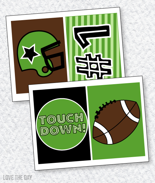 Football Party PRINTABLES:: 5X7 Party Signs by Lindi Haws of Love The Day