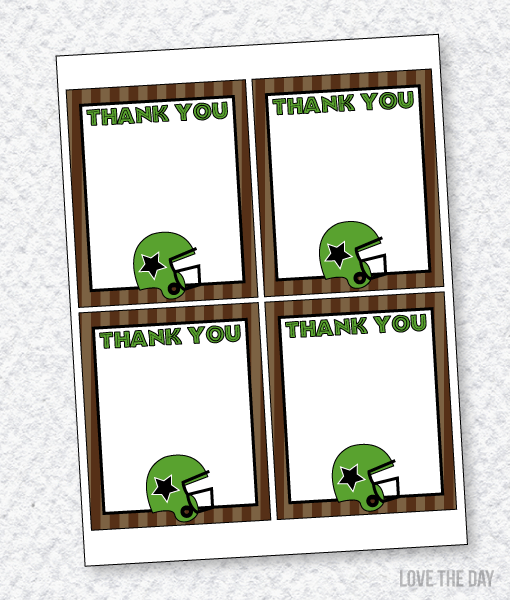 Football Party PRINTABLES:: Thank You Cards by Lindi Haws of Love The Day