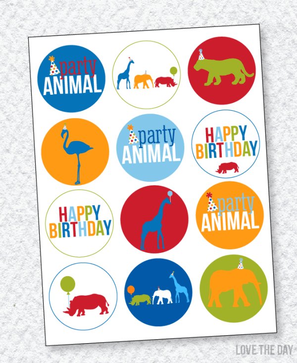 Party Animal PRINTABLE Party Circles