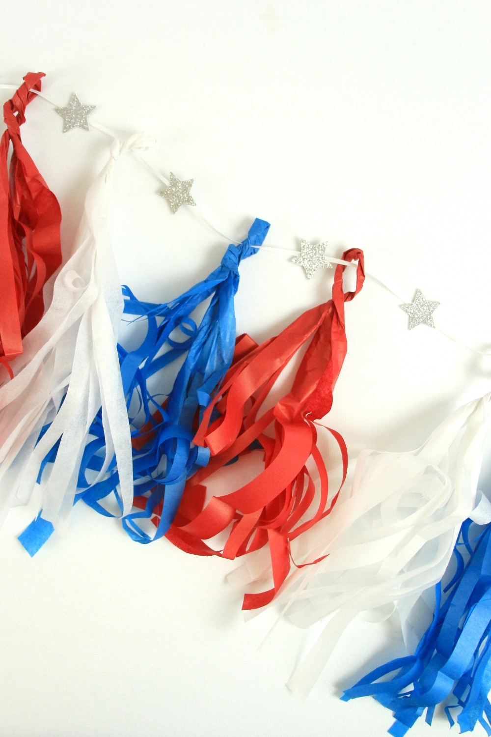 DIY 4th of July Tassel Banner by Polka Dotted Blue Jay on Love the Day