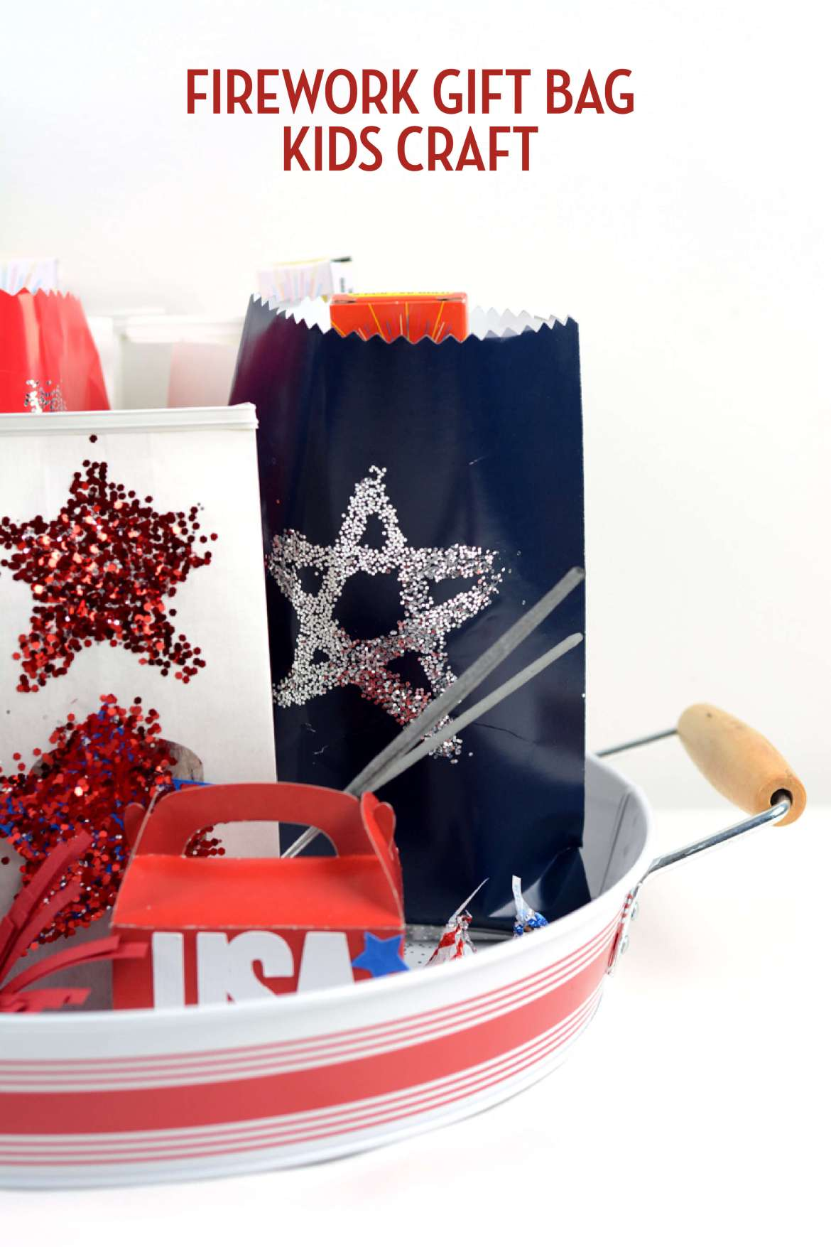 These firework gift bags are an easy 4th of July Craft for Kids by Amy Robison on Love the Day