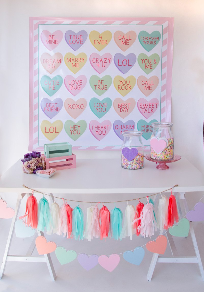 Conversation Heart Valentine Backdrop by Lindi Haws of Love The Day