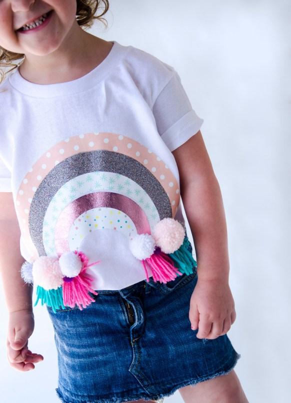 Cricut patterned HTV iron-on rainbow shirt