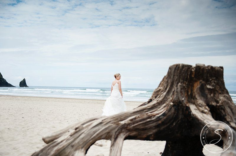Trash the Dress at Cannon Beach Oregon  Haystack Rock