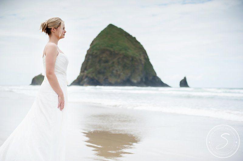 Trash the Dress at Cannon Beach Oregon  Haystack Rock