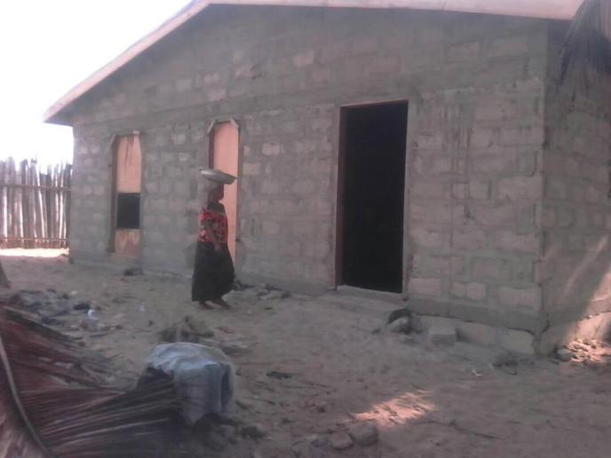 Floors are being prepared for public washroom in Saltpond, Ghana