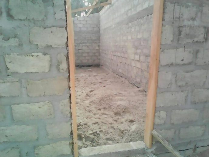 Door frames installed and a look inside public washroom build in Saltpond, Ghana