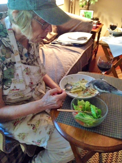 Grandma loves it when I dine with her.