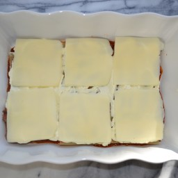 Top with 6 slices of mozzarella.