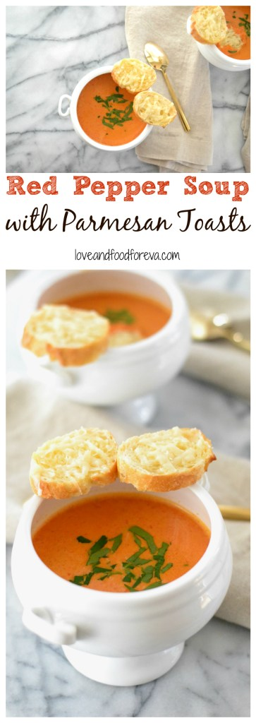A crisp and refreshing Red Pepper Soup served with easy Parmesan Toasts!