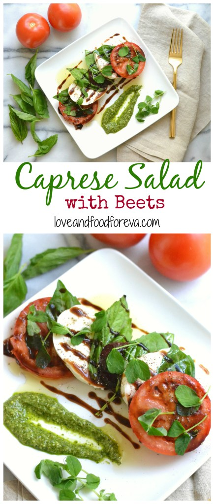 The classic Caprese Salad gets a modern update with nutrient-rich beets, pesto, and pea shoots!