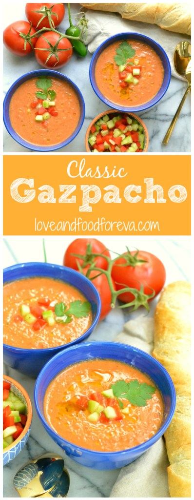 Classic Gazpacho - a refreshing raw vegetable soup, served cold, and perfect for those hot summer days!
