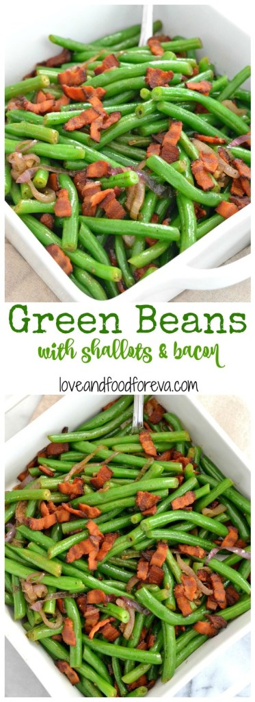 The tastiest green bean side dish for your holiday table, perfectly complemented by delicate shallots and smoky, crispy bacon!