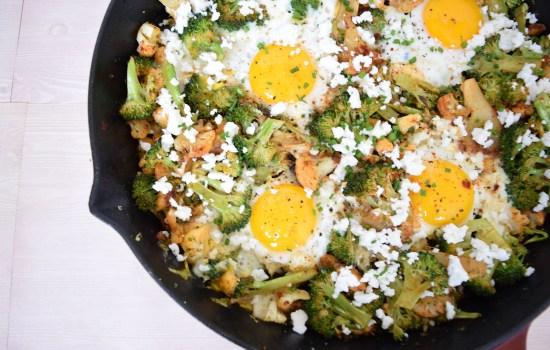 Broccoli & Cauliflower Breakfast Skillet