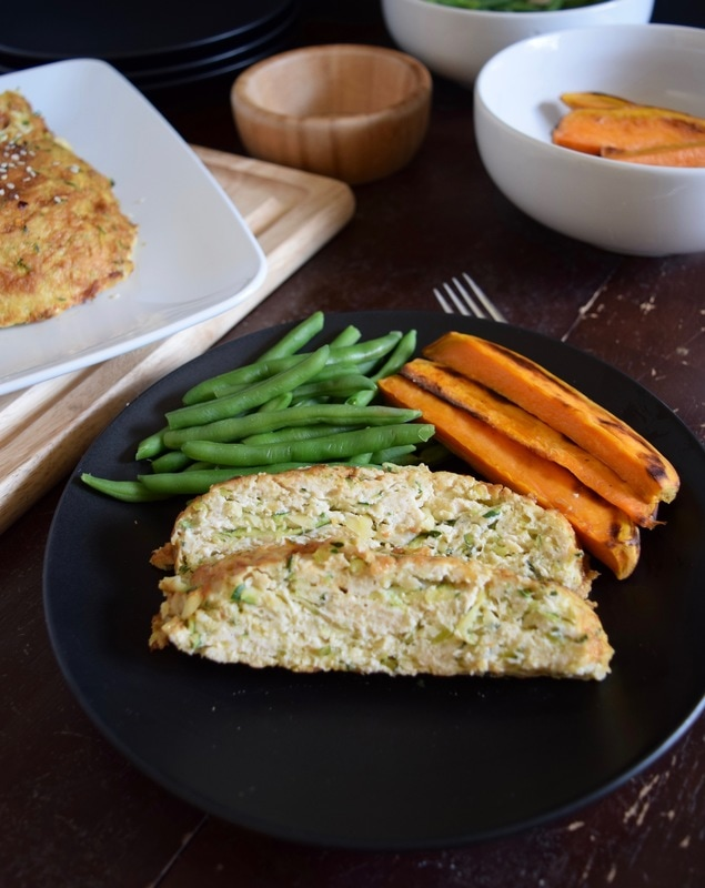 meatloaf slices with greenbeans and sweetpotatoes