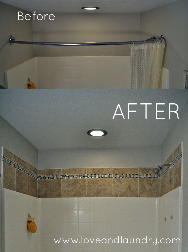 a quick and easy shower tub tile update