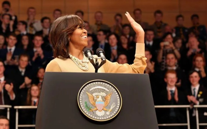 Michelle Obama speaking at the Waterfront Hall (Pic Cathal McNaughton/Reuters)