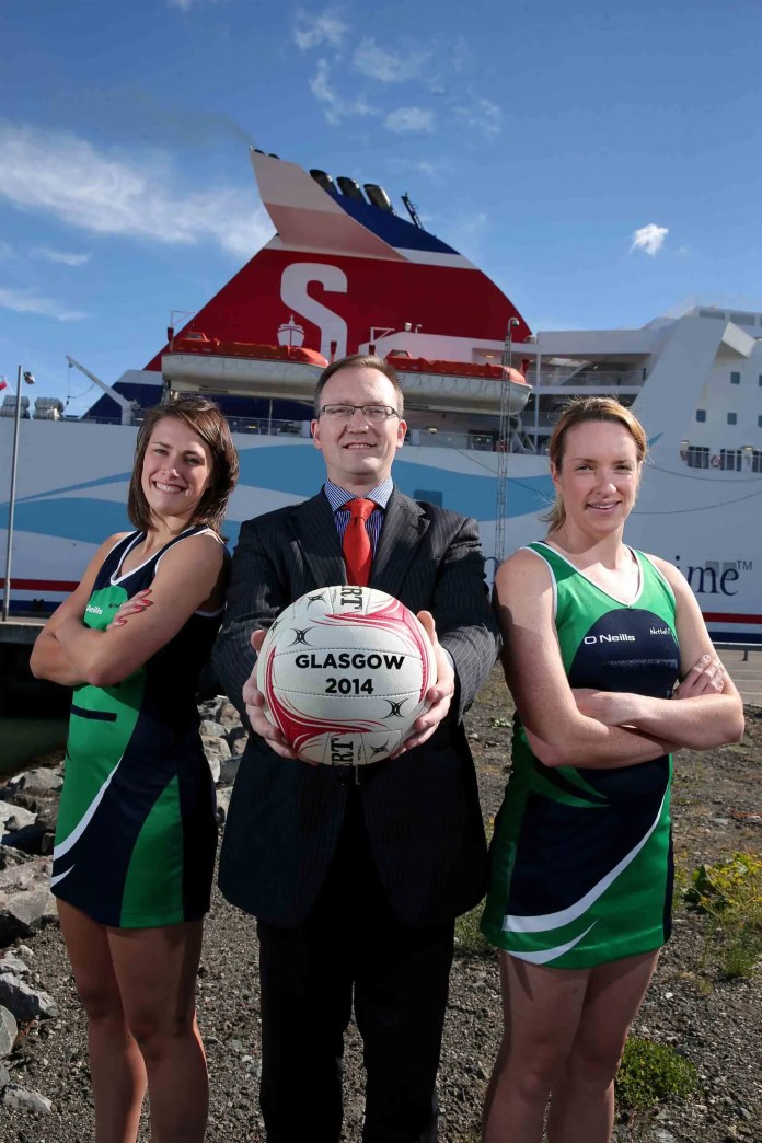 Stena Line's Neil Palmer with Niamh Cooper and Gemma Gibney (captain) of the Northern Ireland netball team.  This will be the team's first time competing in the Commonwealth Games.