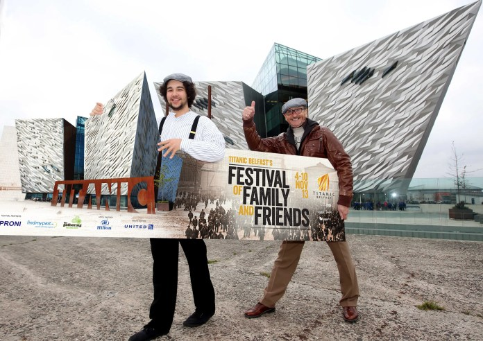 Downtown Radio star George Jones and Titanic Belfast Visitor Experience team member Pablo O'Hanna, launch Titanic Belfast's 'Fly them Home in 2014' competition, as part of the visitor attraction's Festival of Family and Friends between November 4-10.