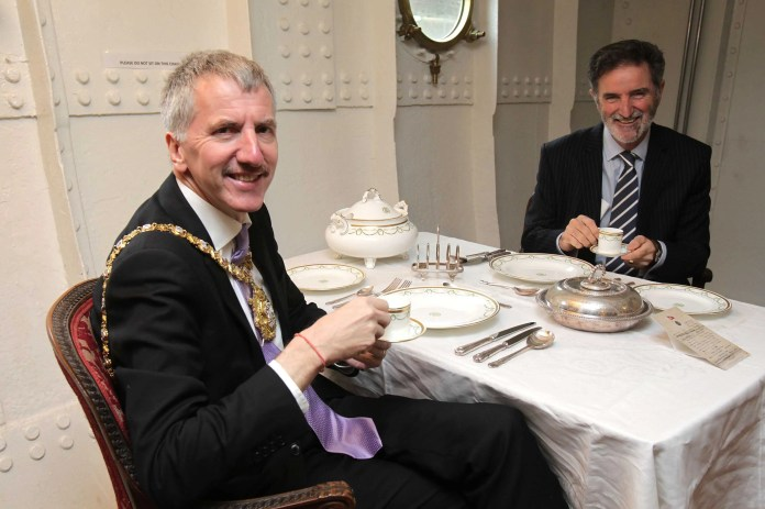 The Lord Mayor of Belfast Máirtín Ó Muilleoir has officially opened a new Winter Exhibition onboard the SS Nomadic.