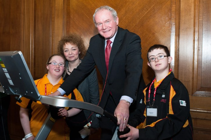 Athletes Edel Kelly and Matthew McGauran with Caral Ni Chuilin Sports Minister and Deputy First Minister Martin McGuinness launching Special Olympics Ulster at Parliament Buildings Stormont. Picture Elaine Hill