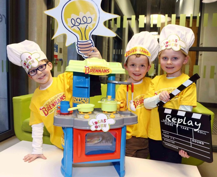 William Edgar, James Morrison and Grace McCracken are ready for some fresh thinking at the Ideas Oven, a series of fun afternoons organised by Replay Theatre and Brennans Bread