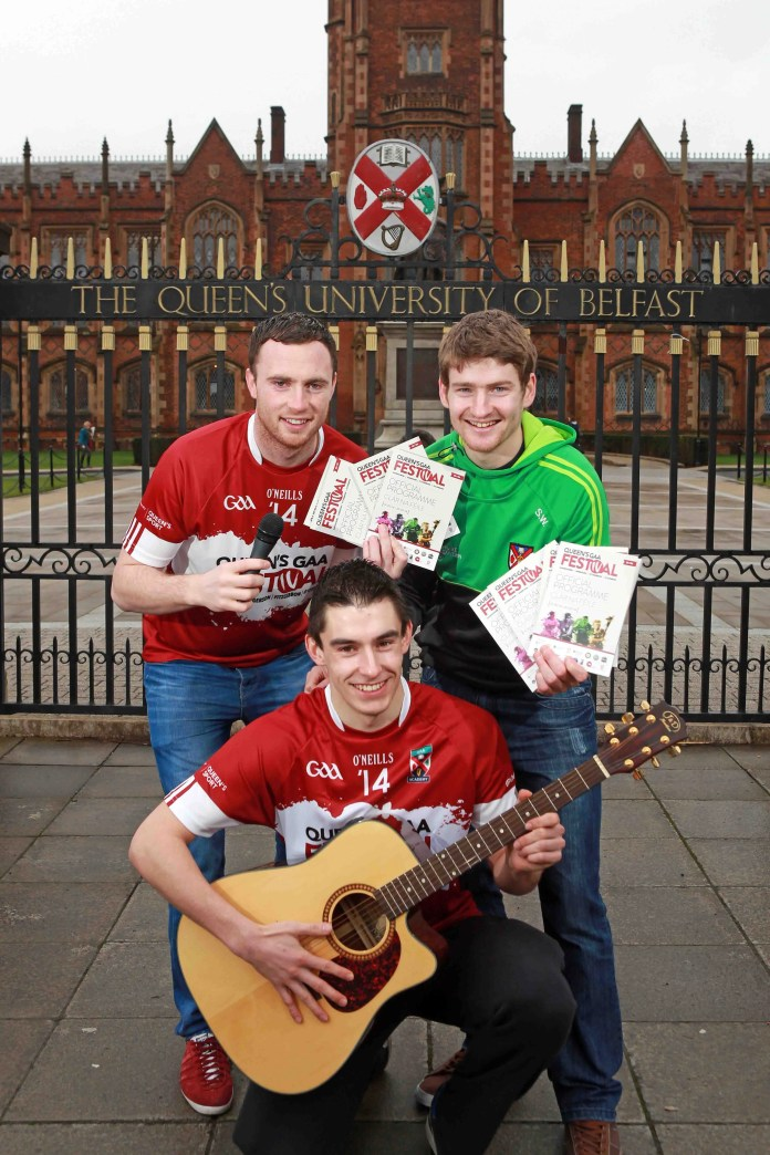 Jersey boys... Queen's University Gaelic footballers (l-r) Martin McElhinney, Conor Maginn and Sean Warnock are all set for the post match entertainment