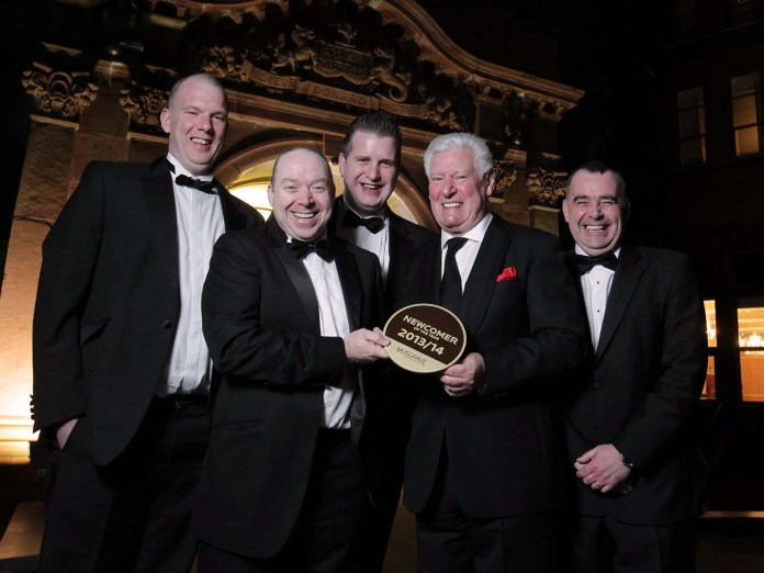 Mace Titanic owners Graham Johnston and Andy Davis were awarded 'Newcomer of the Year' at Musgrave's annual Store of the Year awards on Friday night at the Slieve Donard Hotel, Newcastle. Pictured with Graham and Andy are store manager Gavin Davis, host Roy Walker and Mace Sales Director Trevor Magill.