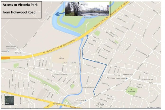 Access to Victoria Park - map