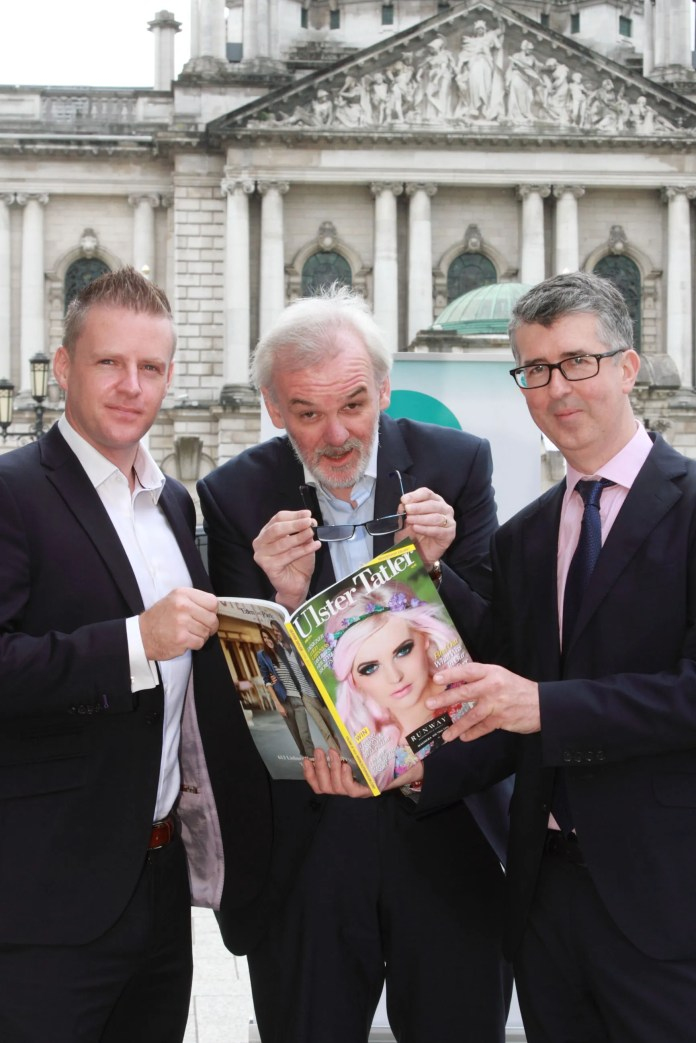 local comedian Tim McGarry (centre) as host of this year's Ulster Tatler Awards in association with Optilase Eye Clinic. Pictured (l-r) along with Tim are Managing Director of Therapie Optilase, Mark Shortt and Editor of the Ulster Tatler Chris Sherry