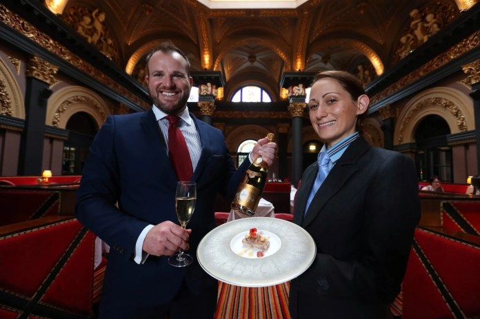 General Manager, Gavin Carroll and Great Room Restaurant hostess, Olga Nagy launch The Merchant Hotel's exclusive Cristal dinner, which is being tipped as the city's most expensive menu. For £195 per person, you can enjoy the ultimate fine dining experience with a lavish seven course meal, alongside matching luxury wines and Louis Roederer Cristal champagne in The Merchant's stunning Great Room restaurant.  The exclusive menu, which is being offered for one night only on Thursday 9th October, has been created especially for Belfast Restaurant Week, which runs 4-11 October. Dishes from the luxurious menu include pressed guinea fowl and rabbit terrine with hazelnut and vanilla pear accompanied by a glass of Brut Vintage 2007