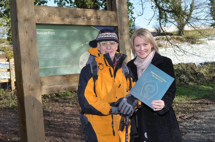 Launching the new trail at Navan Fort are Laura McCorry, Tourism NI Director of Product Development and seasoned pilgrim walker, Alan Graham.