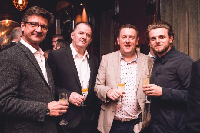 4.Joris Minne, Ciaran Hickey & Adrian McLaughlin, Carton House & Saul McConnell, Deanes, pictured at the Shortcross Signature Serve event in Sixty6 Belfast.