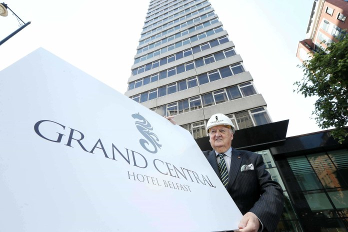 Sir William Hastings, Chairman of Hastings Hotels today unveiled the plans for the latest addition to the leading hotel chain's portfolio which will see a £30M investment and the creation of over 150 new jobs for Belfast.  The new hotel, which will be called the Belfast Grand Central Hotel, will boast 200 bedrooms, a restaurant and bar, 18 serviced apartments and a range of superbly appointed office accommodation when it opens in 2018.
