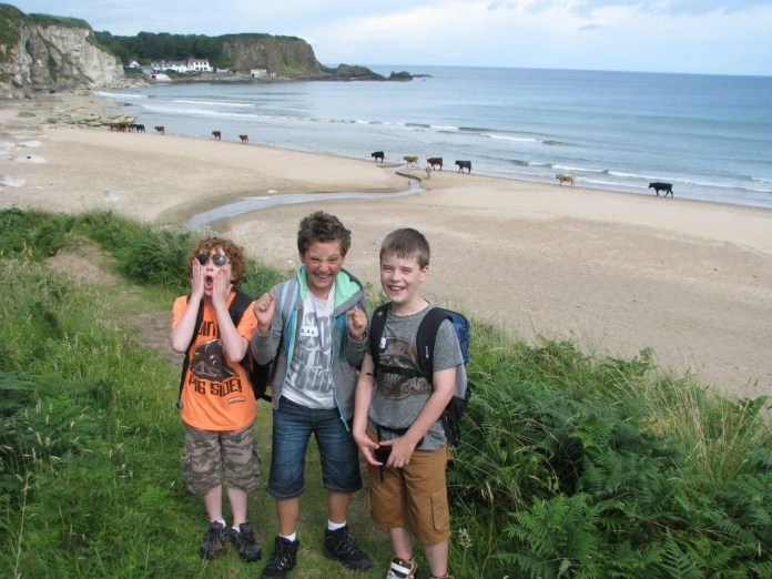 Naoise, Zak and Flynn at White Park Bay