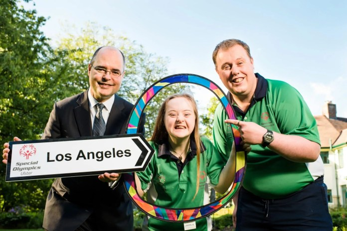 US Consul General, Gregory S. Burton with Déarbháil Savage, aged 14 from Mowhan, Co. Armagh (equestrian) & Sean Campbell, aged 30, from Coleraine, Co. Derry-Londonderry (ten pin bowling) at a special reception hosted by the US Consul General in Belfast for athletes heading to the Special Olympics World Summer Games in Los Angeles (LA2015). The special event, which took place on Thursday (18th June 2015) at the residence of Consul General, Gregory S. Burton honoured local athletes, coaches and families going to LA2015 next month, as well as thanking the corporate partners and volunteers that have supported Team Ireland through various fundraising efforts. The athletes are two of 12 local athletes that will compete at LA2015 as part of an 88-strong Team Ireland squad. For further information on how you can Support local Special Olympics athletes heading to LA2015 visit www.specialolympics.ie/supportanathlete or call John Kivlahan on 028 9089 2996.  Picture by Elaine Hill.