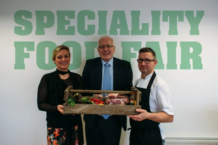 : Joanne McErlain, Babble, event organiser for Speciality Food Fair; Alderman Allan Ewart, Chairman of Lisburn & Castlereagh City Council Development Committee,  Chris McGowan, Great British Menu chef 2014 and 2015
