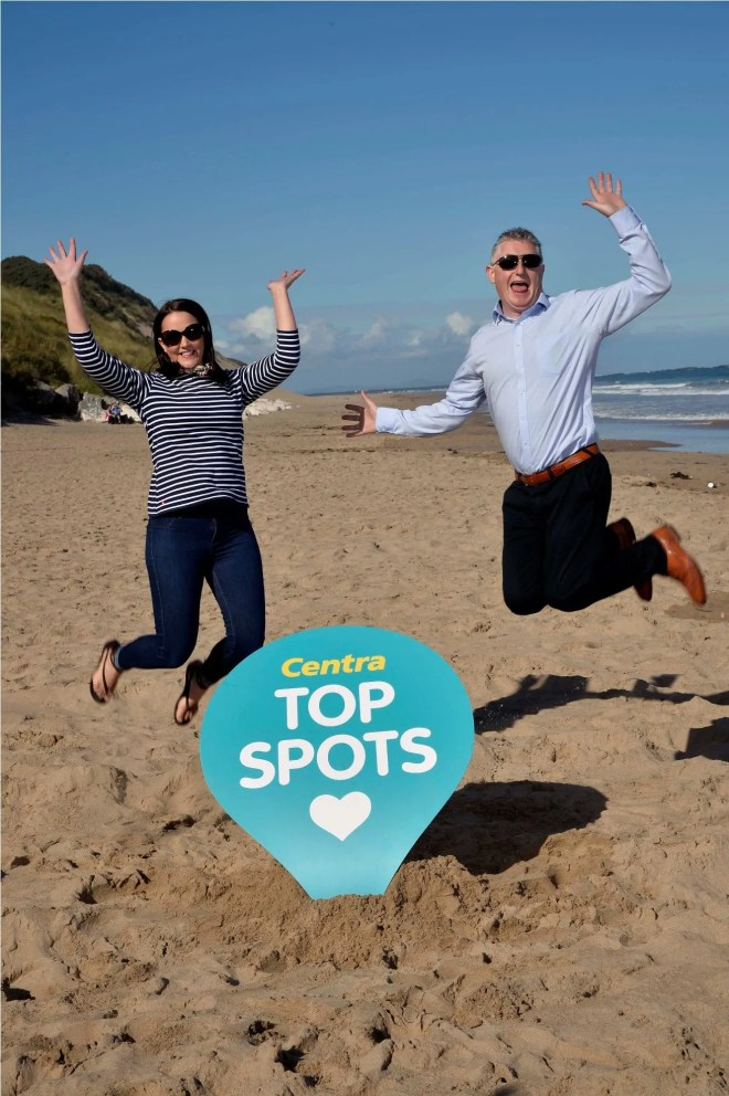 NO FEE PRESS RELEASE IMAGE Press Eye Ltd Tuesday 22nd  September 2015  Picture by Stephen Hamilton /  Press Eye  Whiterocks Beach, Portrush has been named Northern IrelandÕs Top Beach Spot in a search by local retail brand Centra, supported by Tourism NI. The stunning beach, situated off the Causeway Coastal Route beat off competition from other popular locations across Northern Ireland. Celebrating the announcement at Whiterocks Beach, Portrush is CentraÕs Jennifer Morton along with local Centra Ballymoney store owner, Glenn Biesty.   Jennifer Higgins Communications Assistant Musgrave Retail Partners NI Tel: (028) 90 787383     1-19 Dargan Drive, Belfast, BT3 9JG P Please think before you print!