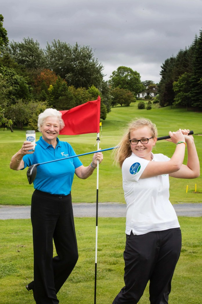 Young golf star and current Dale Farm Athlete, Annabel Wilson 'tees off' the 2015/16 Dale Farm Athletes' Academy alongside Dame Mary Peters DBE, President of the Mary Peters Trust. The 2015/16 Dale Farm Athletes' Academy is now open for applications.