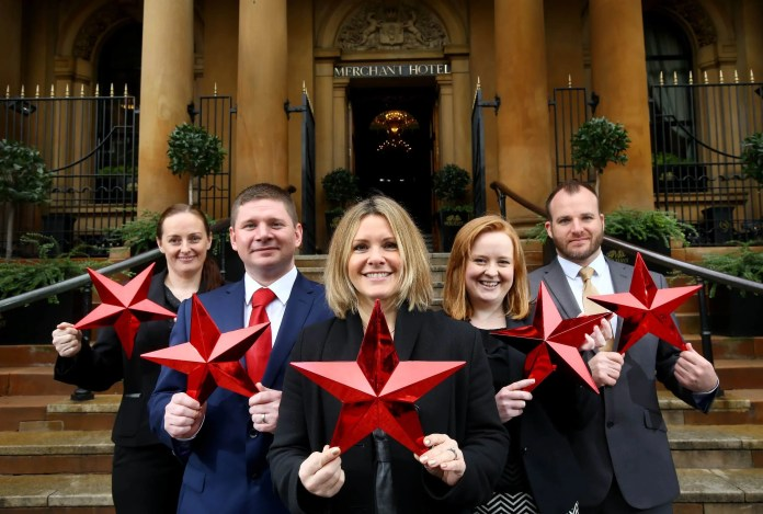 RED ALERT… Sharmaine Dickson, Michael Sullivan, Petra Wolsey, Maeve Morgan and Gavin Carroll celebrate as the AA upgraded The Merchant Hotel's rating from five black stars to five red stars at the prestigious AA Hospitality Awards, making it the first and only hotel in Northern Ireland to receive the esteemed accolade. Held at Grosvenor House in London on Monday October 5, the AA Awards recognise outstanding excellence in hospitality and the red star is its most supreme accolade for hotels. Awarded through inspectors' choice, it is only bestowed to the best hotels in the British Isles that excel in all areas and offer outstanding levels of quality, service and hospitality. The Merchant Hotel now joins an elite group of only 50 hotels in the whole of the UK that have achieved the exclusive AA Five Red Star status.
